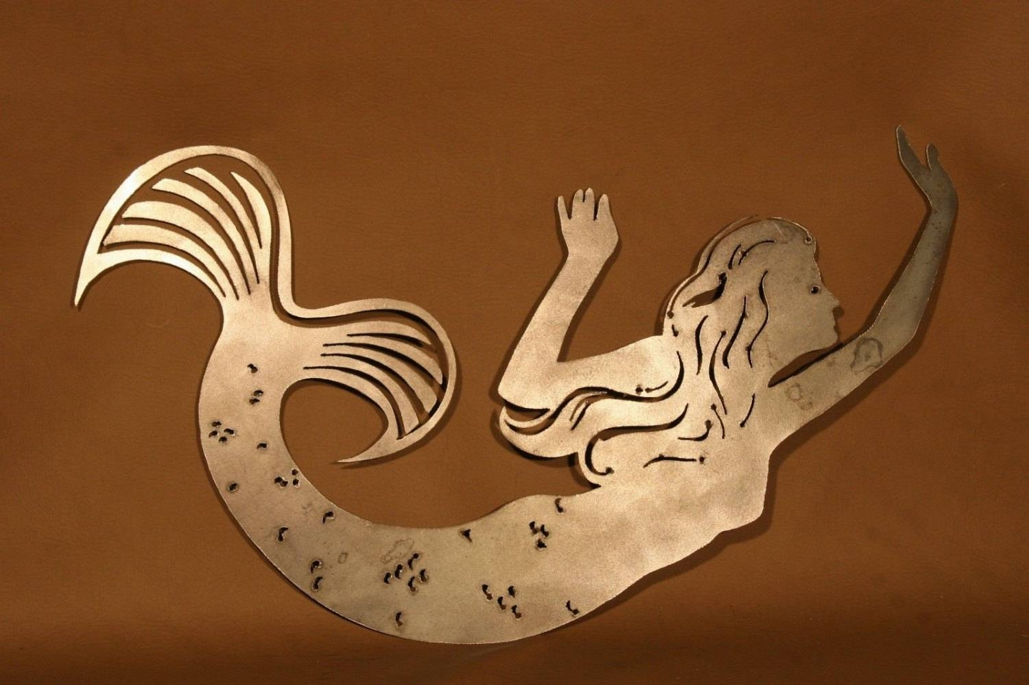 Mermaid Plasma Cut Metal Wall Art Hanging Home Decor Beach Intended For Most Recently Released Mermaid Metal Wall Art (View 15 of 20)