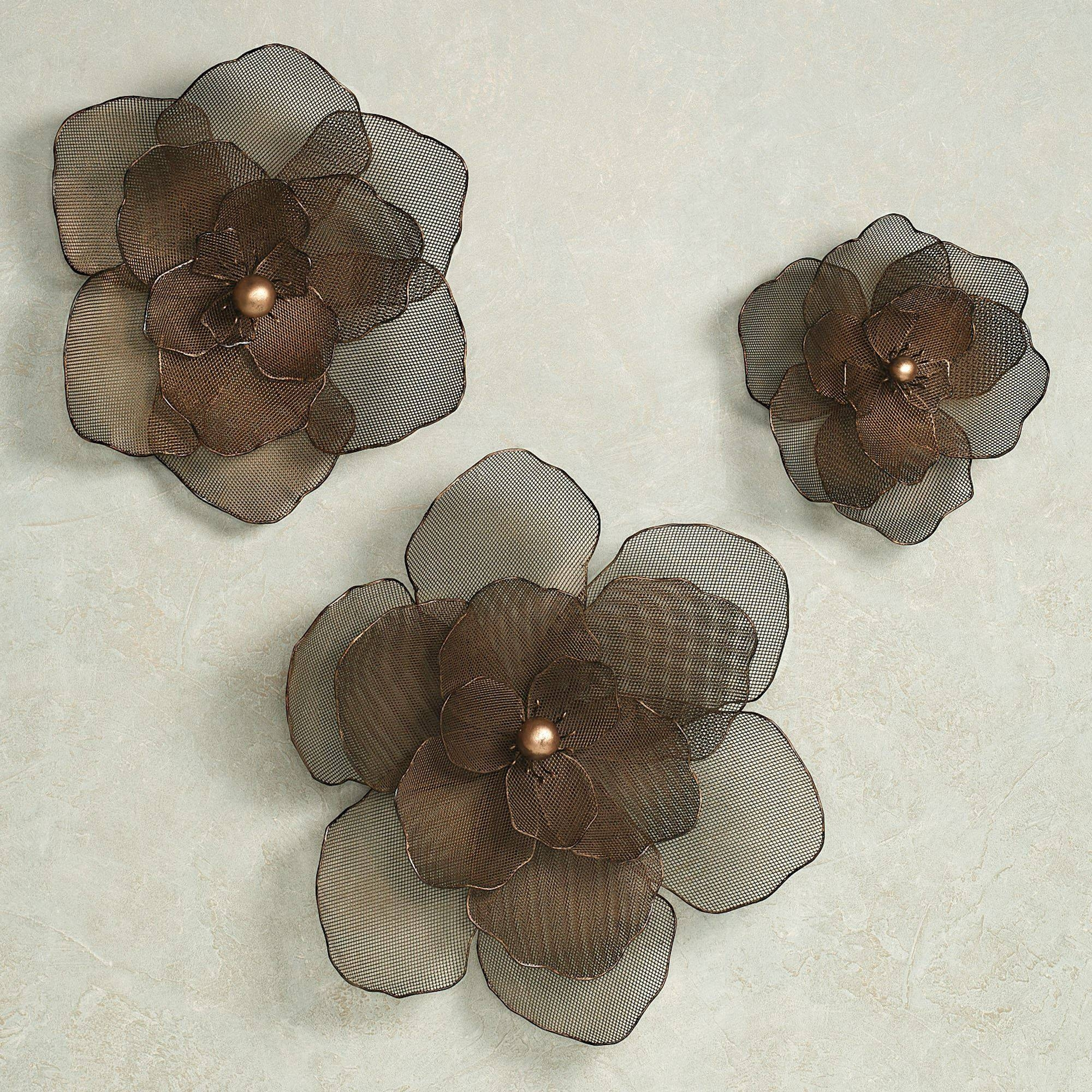 Mesmerizing Flower Metal Wall Art Bronze Blue Brown Distressed Regarding Newest
