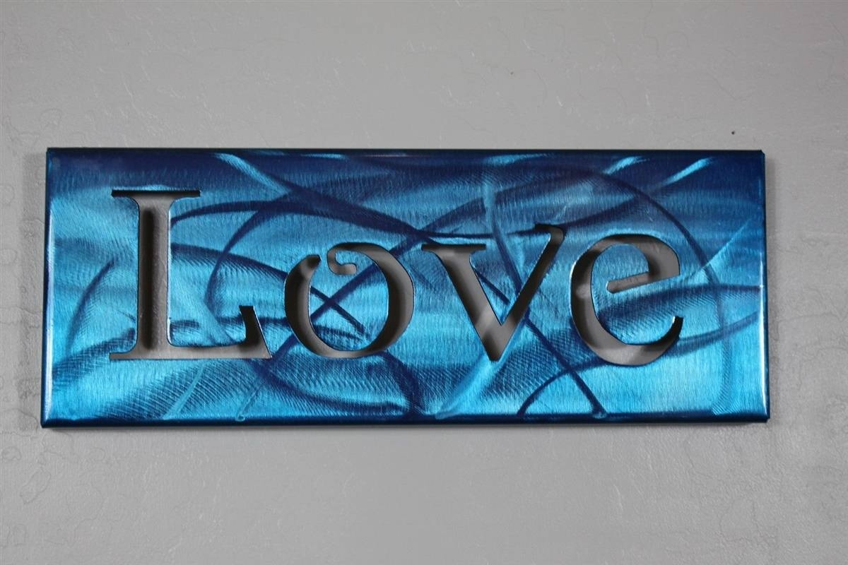 Metal Art Canvas Love — Metallic Blue For Most Popular Teal Metal Wall Art (View 8 of 20)