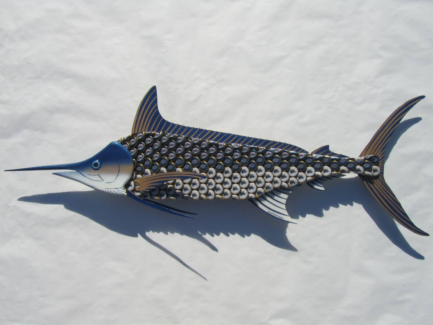 Metal Fish Wall Art Blue Marlin Fish Bottlecap Art Throughout Most Current Tropical Fish Metal Wall Art (View 15 of 20)