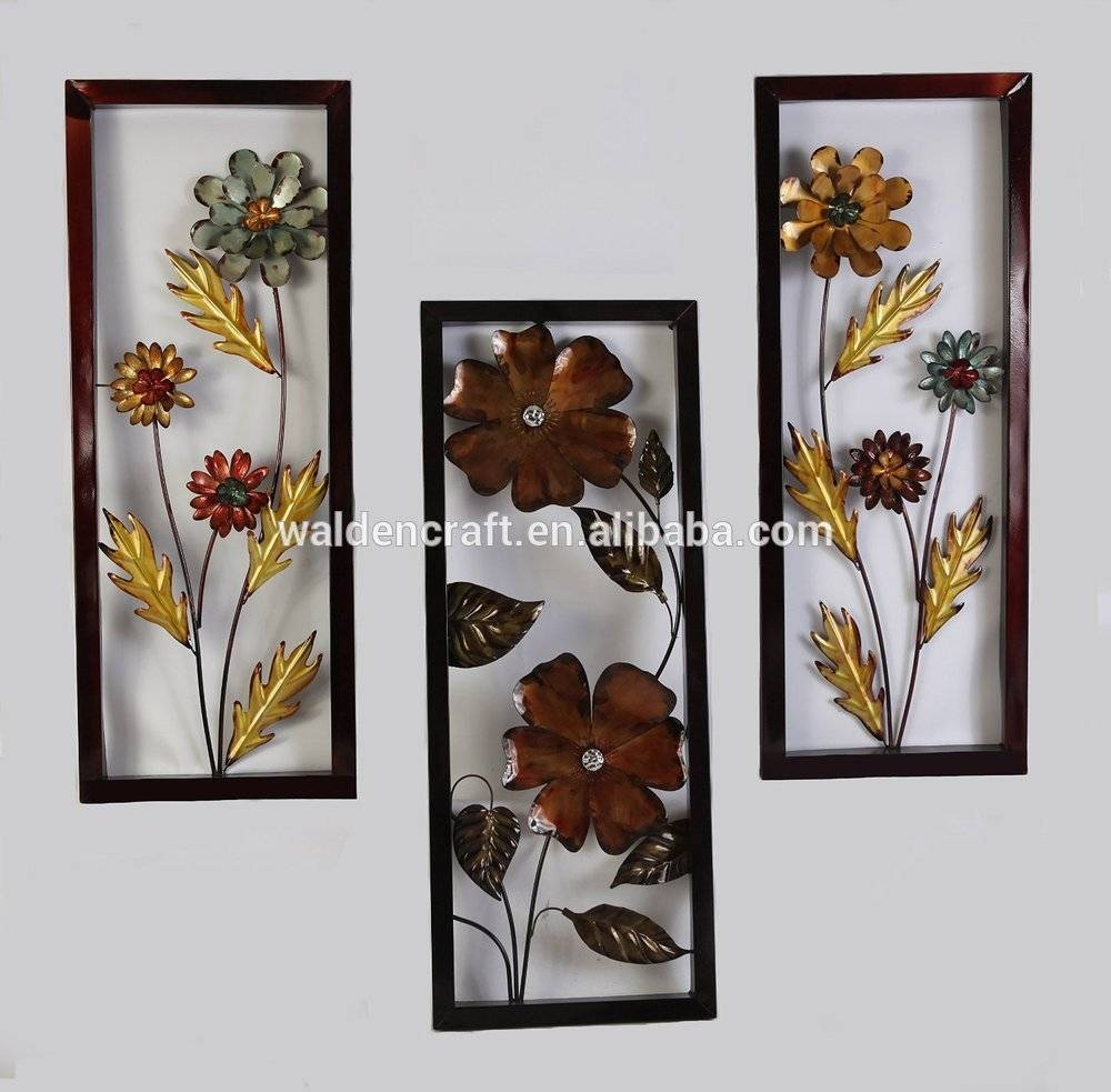 Metal Floral Wall Art For Home And Office Decor Framed Blue Pertaining To Latest Framed Metal Wall Art (View 11 of 20)