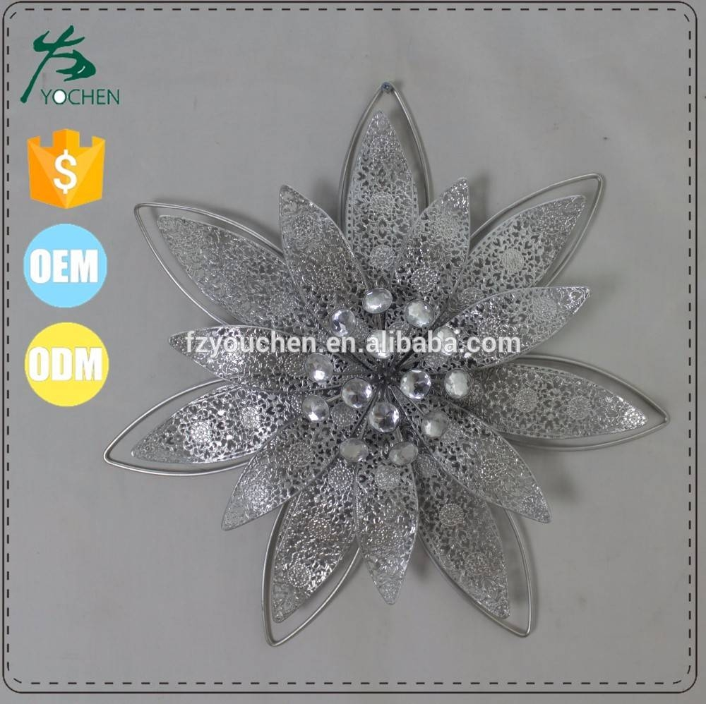 Metal Flower Wall Decor Images,photos & Pictures On Alibaba Intended For Most Recent Silver Metal Wall Art Flowers (View 4 of 20)