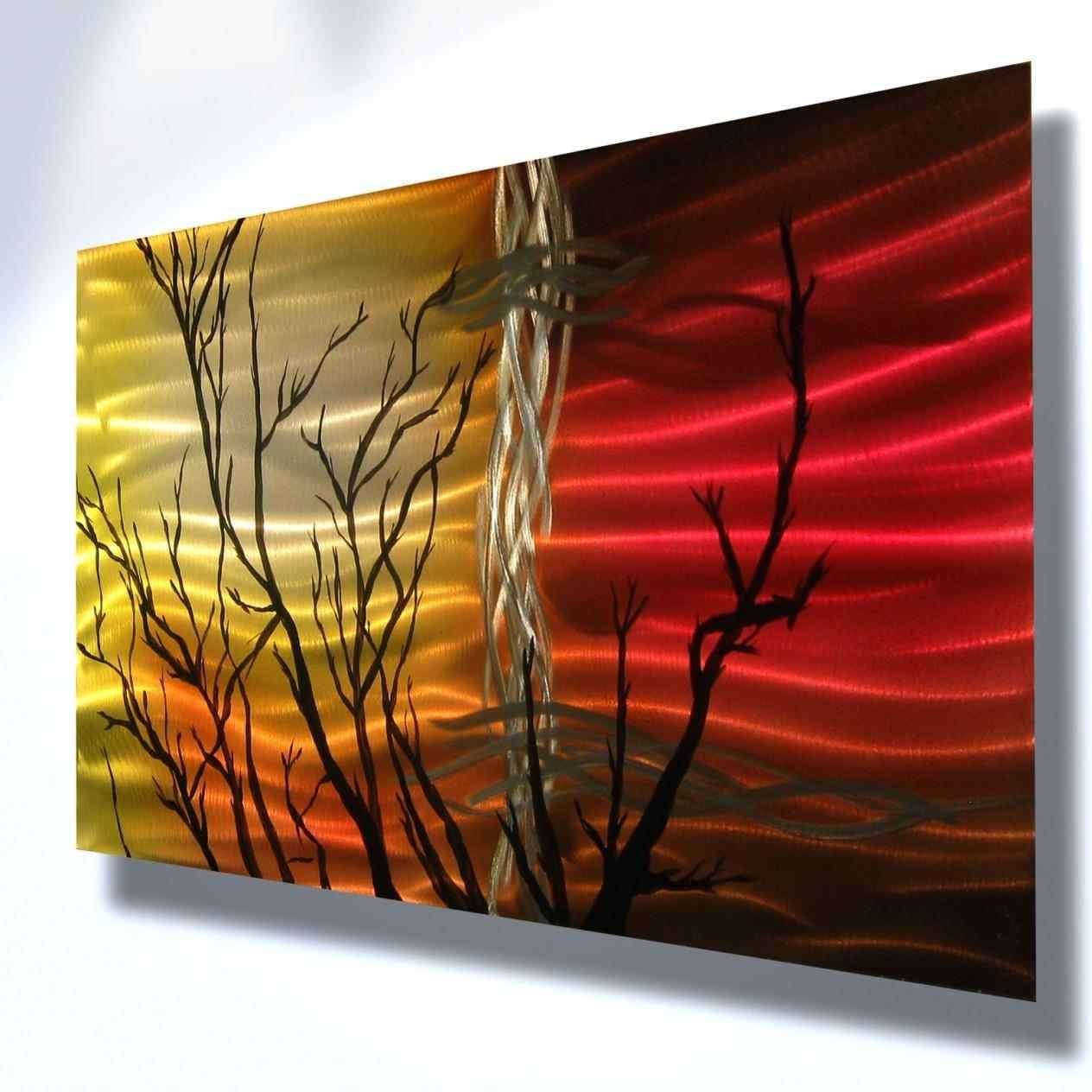 Metal For Walls Sunset Tree Abstract Sculpture Painting Modern For Newest Red Tree Metal Wall Art (Gallery 10 of 20)