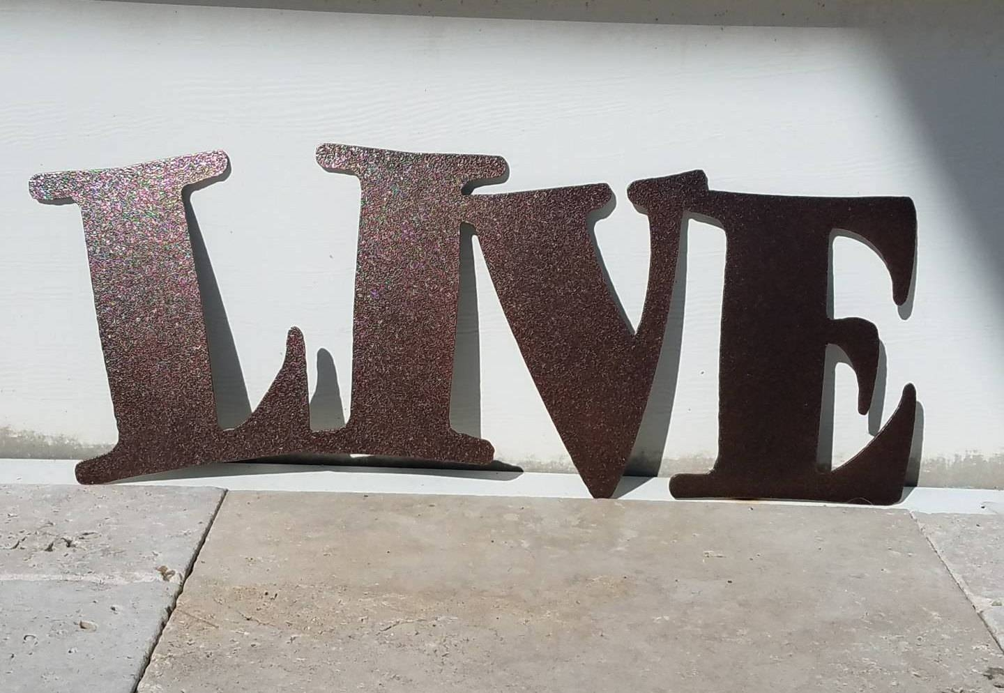 Metal Live Sign – Metal Letters – Metal Wall Art – Live Laugh Love Inside Most Recent Metal Wall Art Letters (View 19 of 20)