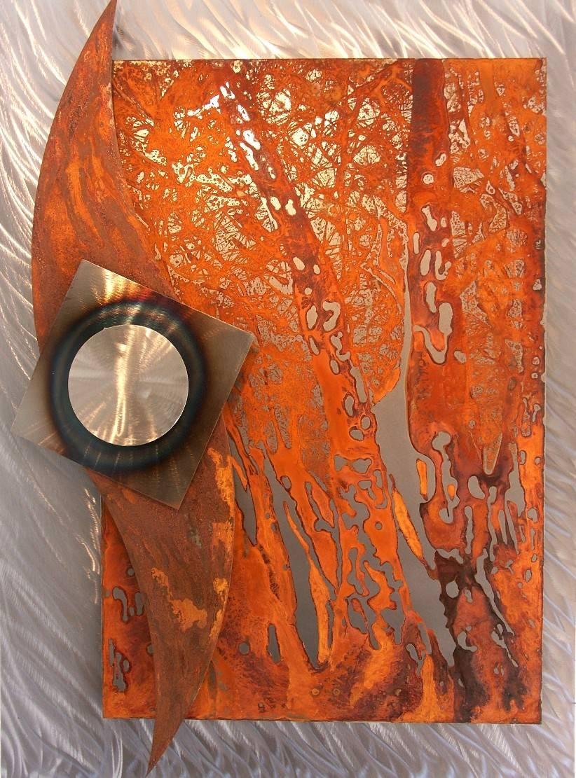 """Metal Mural """"flow Of Water"""" – Metal Wall Art   Metal Artworks Inside Current Rusted Metal Wall Art (View 10 of 20)"""