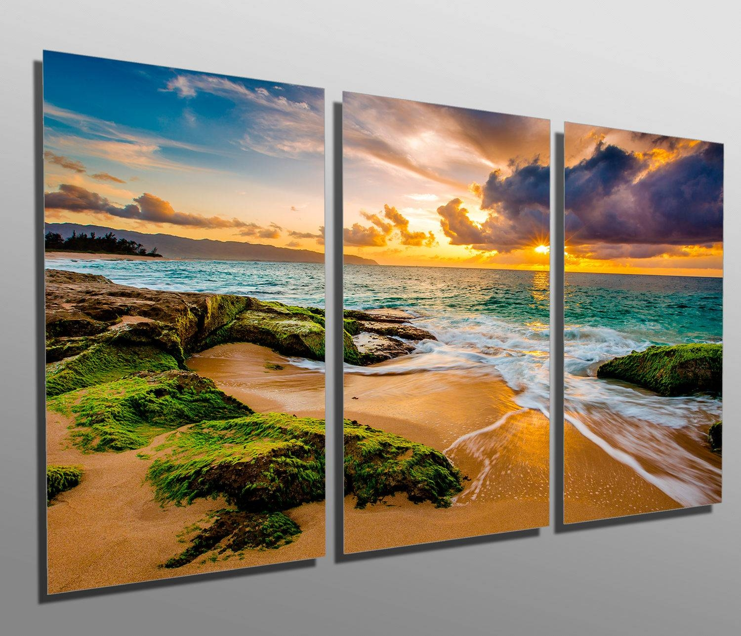Metal Prints Hawaii Beach Golden Sunset 3 Panel Split For 2018 Hawaiian Metal Wall Art (View 4 of 20)
