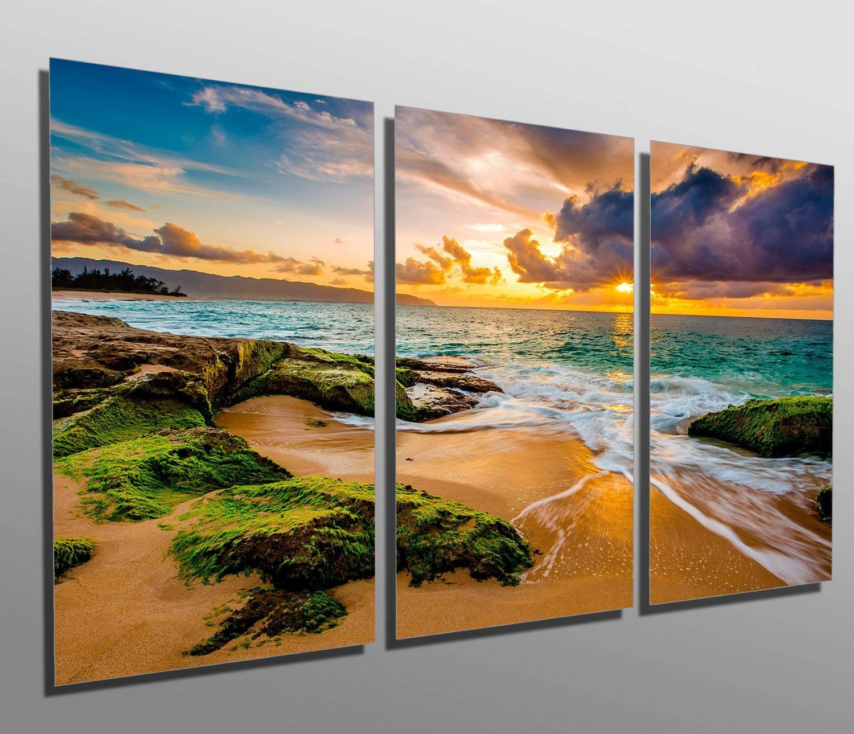 Metal Prints Hawaii Beach Golden Sunset 3 Panel Split For 2018 Hawaiian Metal Wall Art (View 7 of 20)