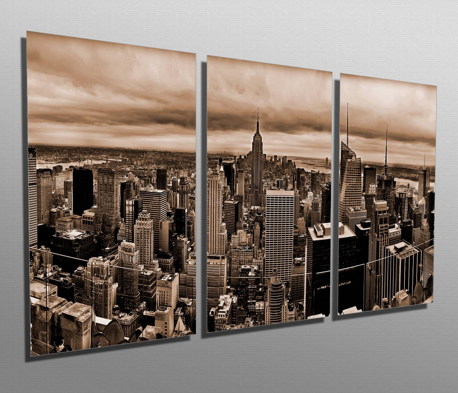 Metal Prints New York Skyline Sepia 3 Panel Split In Best And Newest New York City Skyline Metal Wall Art (View 7 of 20)