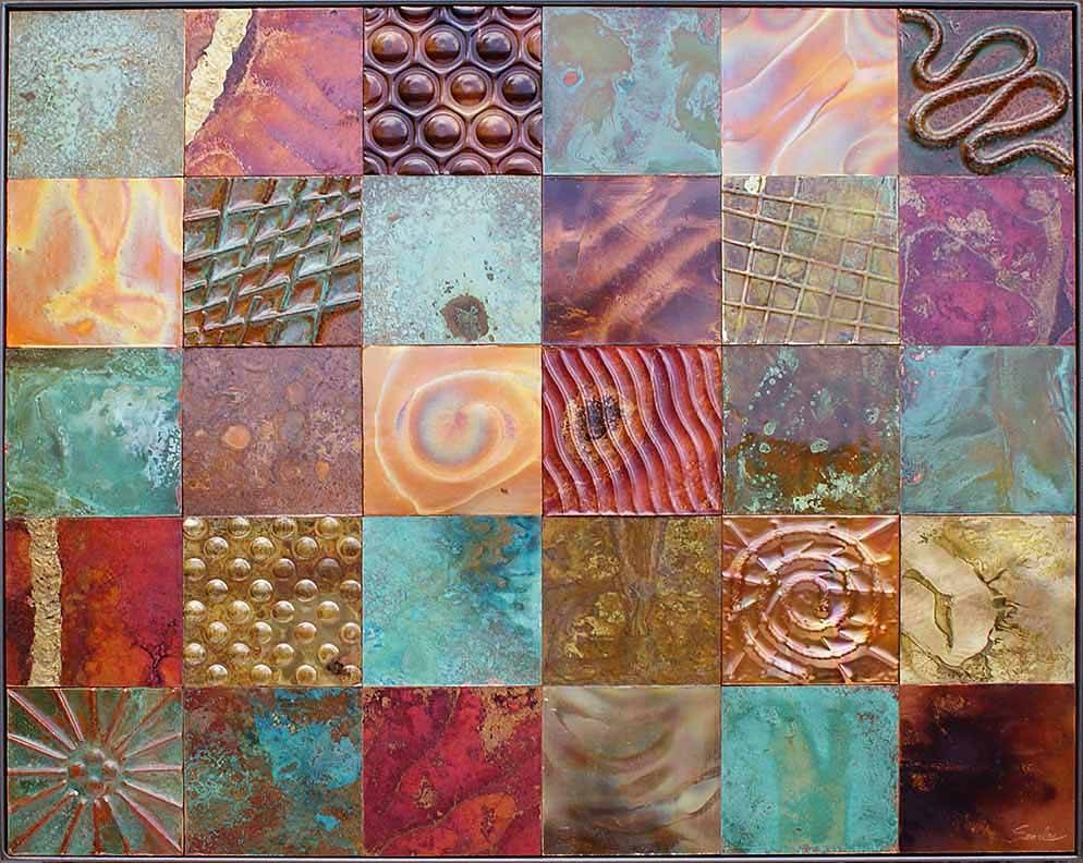 Metal Quilt Art >Metal Art Quilts>>Metal Tile Quilts>>Quilt Art Intended For Current Embossed Metal Wall Art (View 4 of 20)