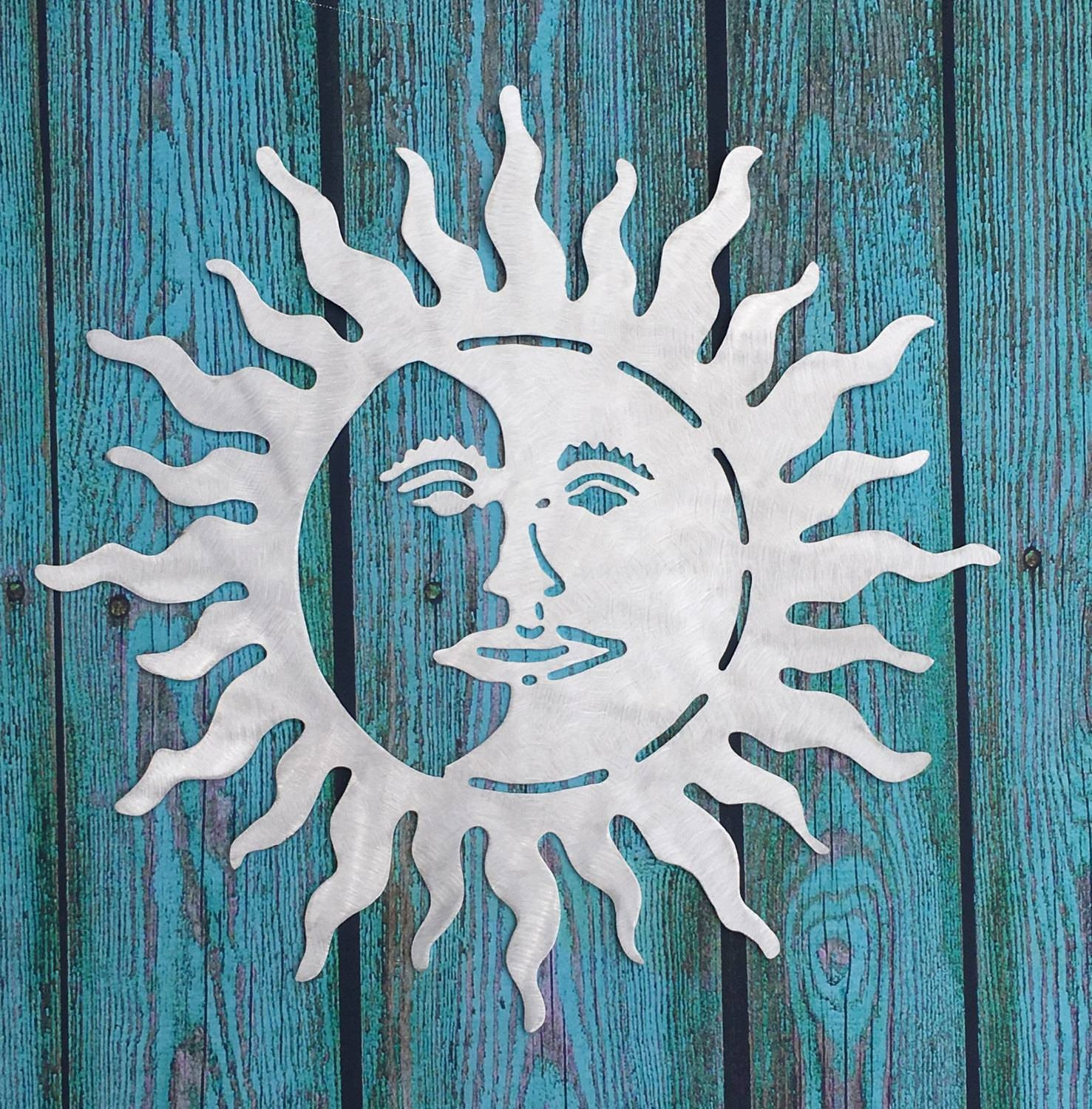 Metal Sun And Moon Wall Art Indoor Outdoor Aluminum Intended For 2017 Sun And Moon Metal Wall Art (View 7 of 20)