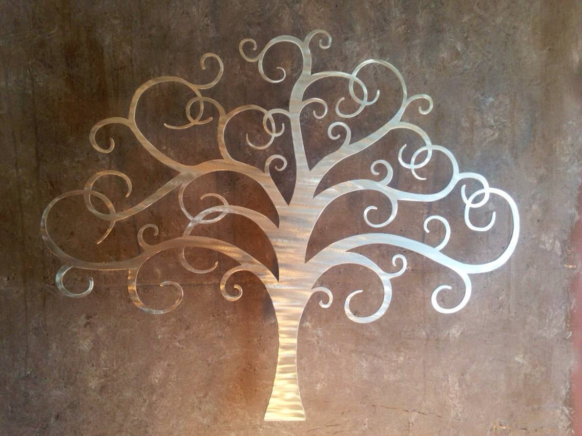 Metal Tree Wall Decor | Roselawnlutheran For Newest Brushed Metal Wall Art (View 9 of 20)