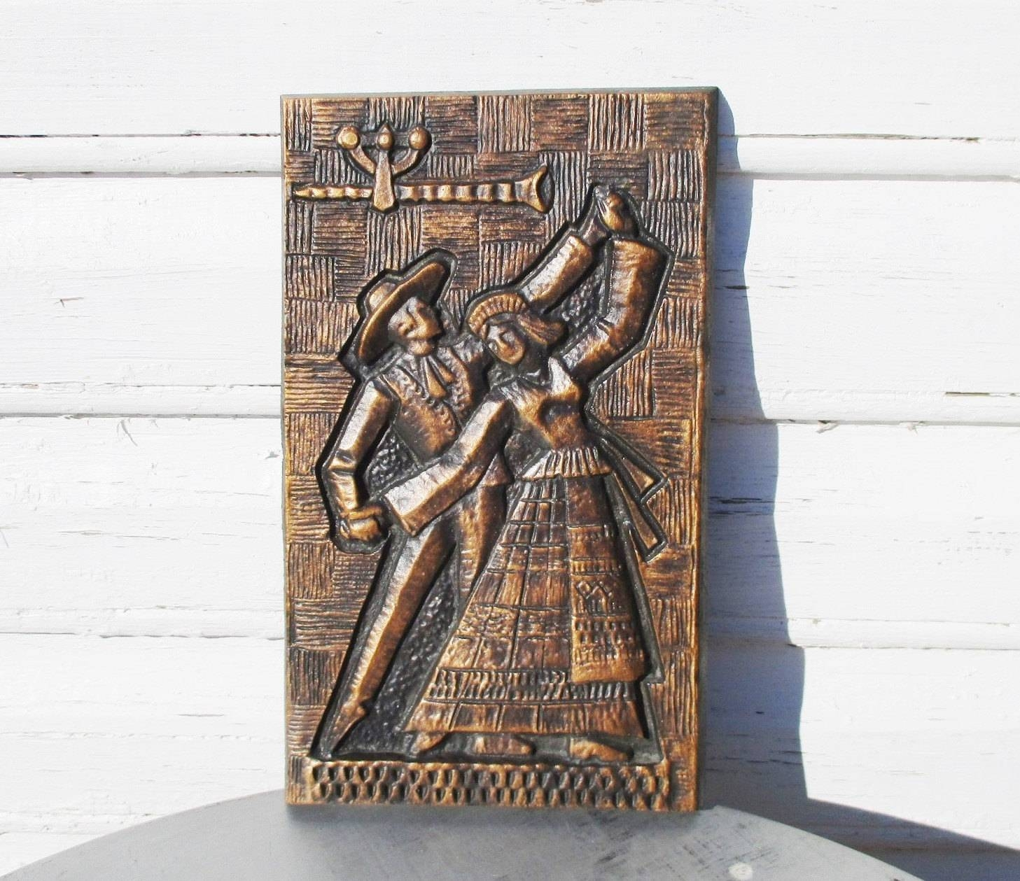 Metal Wall Art 3D Art Embossed Bronze Wall Hanging Estonian With Regard To Newest Metal Wall Art Dancers (View 12 of 20)