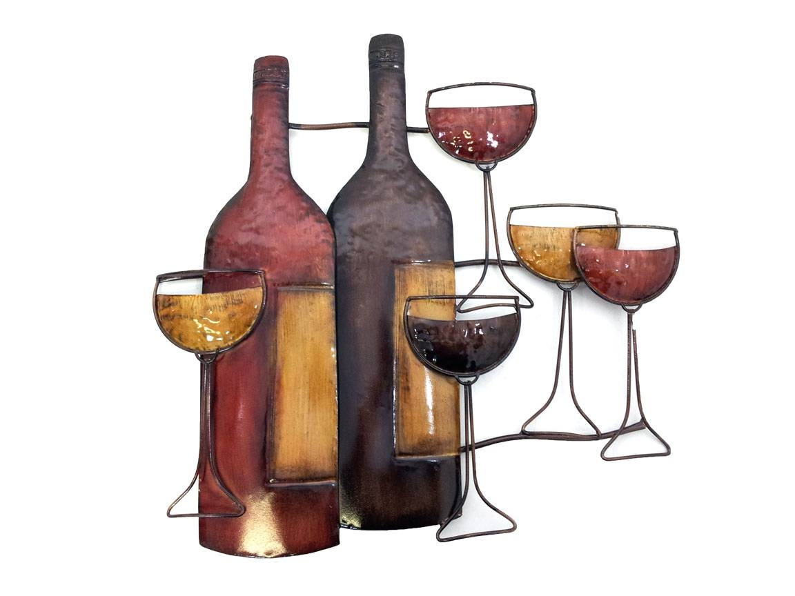 Metal Wall Art – Brown Wine Bottle Scene For Most Recently Released Wine Bottle Metal Wall Art (Gallery 3 of 20)
