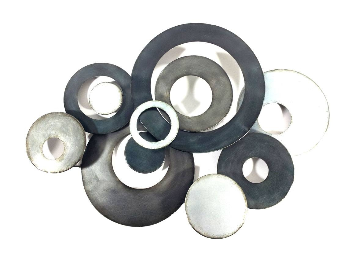 Metal Wall Art – Charcoal Linked Circle Disc Abstract Inside Most Recent Black And Silver Metal Wall Art (View 7 of 20)