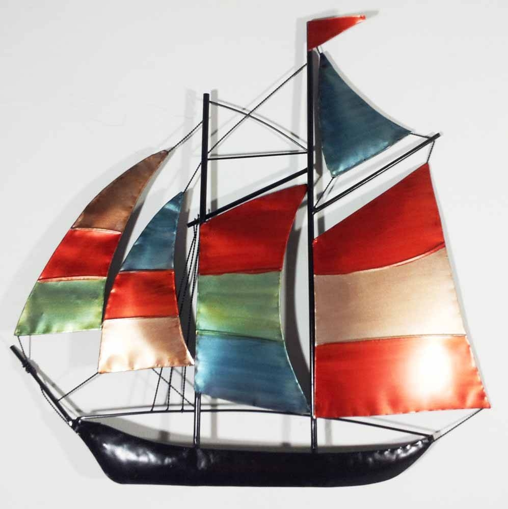 Metal Wall Art – Colour Sailing Ship Yacht With Regard To Most Popular Metal Wall Art Ships (View 9 of 20)