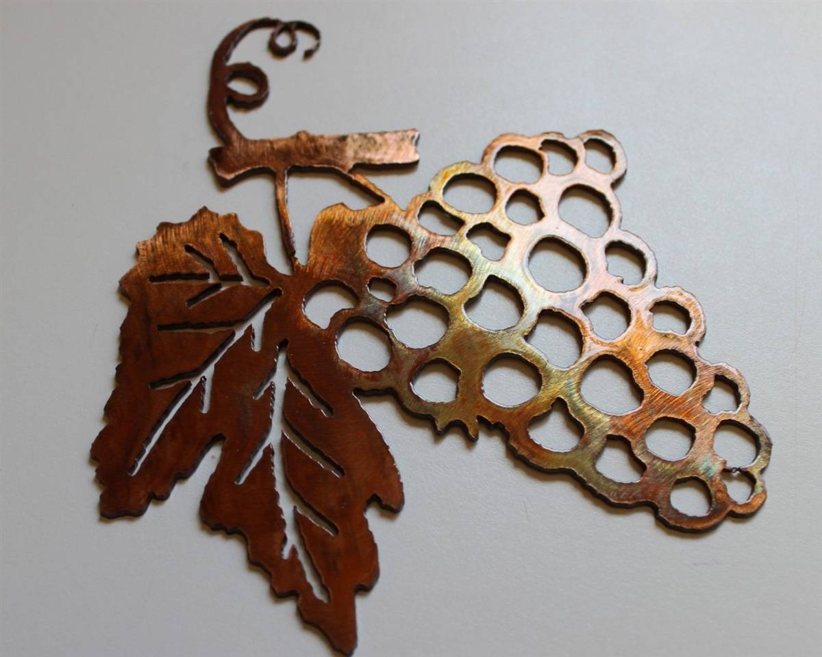 Metal Wall Art Decor Small Grape Bushel & Wine Sign Throughout Most Current Brown Metal Wall Art (View 17 of 20)