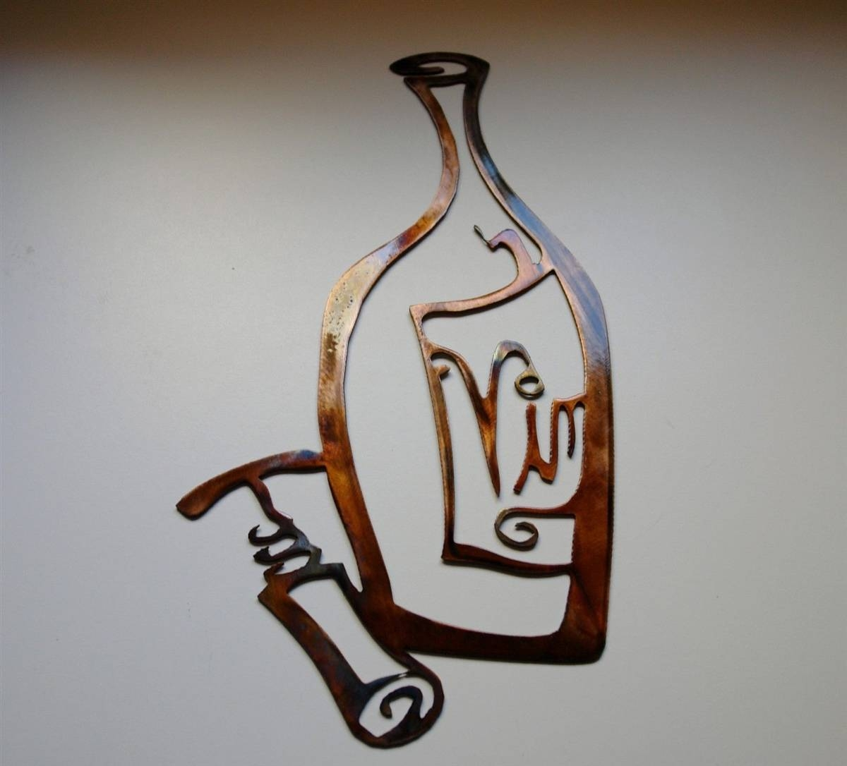 Metal Wall Art Decor, Wine Bottle And Opener Copper & Bronze Plated Within 2017 Wine Bottle Metal Wall Art (View 7 of 20)