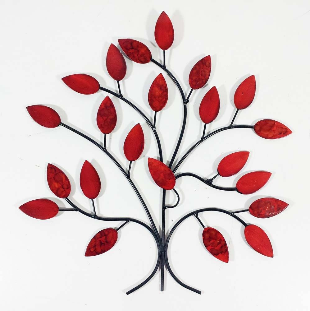 Metal Wall Art – Fire Summer Tree Branch For Most Current Red Tree Metal Wall Art (View 1 of 20)