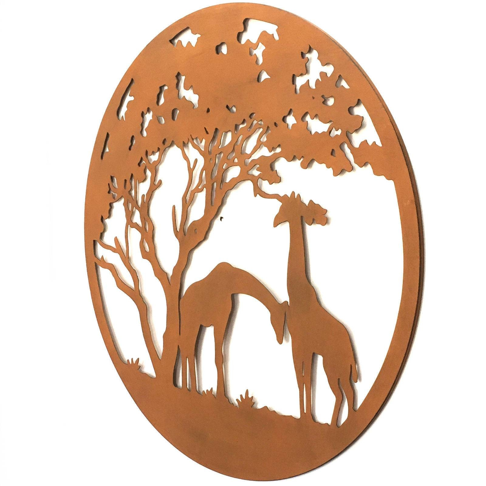 Metal Wall Art Giraffe African Hanging Garden Sculpture Round Rust With Most Current Giraffe Metal Wall Art (View 3 of 20)