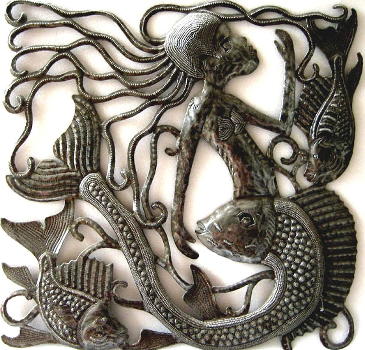 Metal Wall Art Home Decor Metal Mermaid Wall Hanging With Regard To 2017 Haitian Metal Wall Art (View 12 of 20)