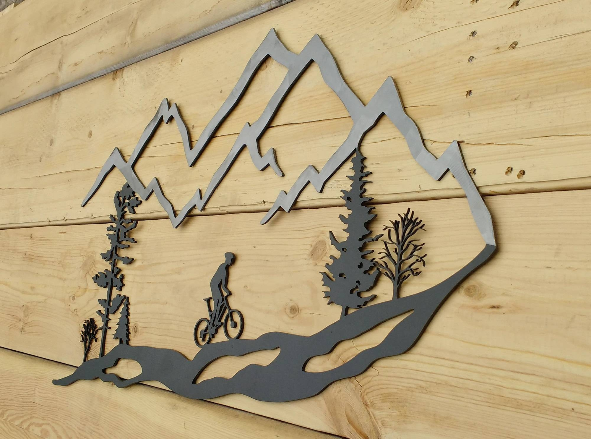 Metal Wall Art Mountain Bike Trees Mountain Bike Mtb Intended For Best And Newest Mountains Metal Wall Art (View 8 of 20)