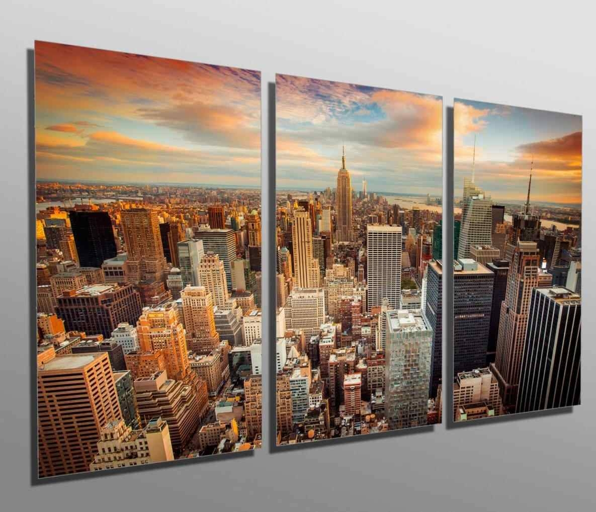 Designart New York City Skyline Panorama 5 Piece Wall: 20 Ideas Of New York City Skyline Metal Wall Art
