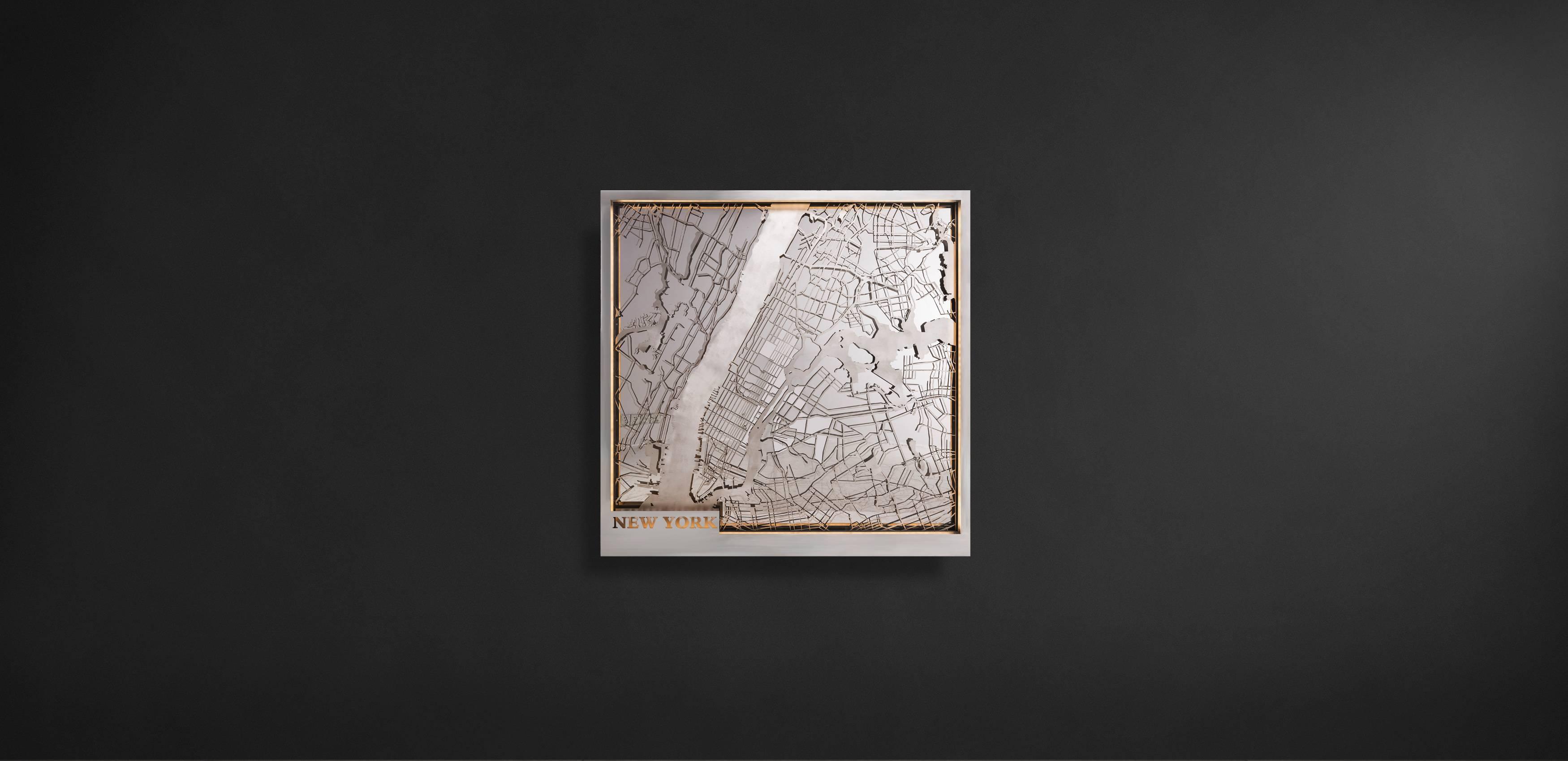 Metal Wall Art – New York Map   Timothy Oulton Throughout 2017 New York Metal Wall Art (View 8 of 20)