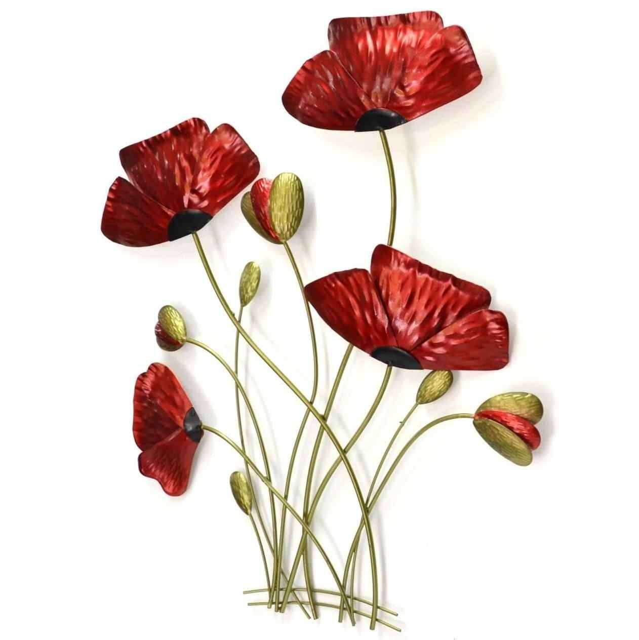 Metal Wall Art Of Red Poppy Canvas Wall Art Ideas Design Pictures Regarding Current Poppy Metal Wall Art (View 5 of 20)