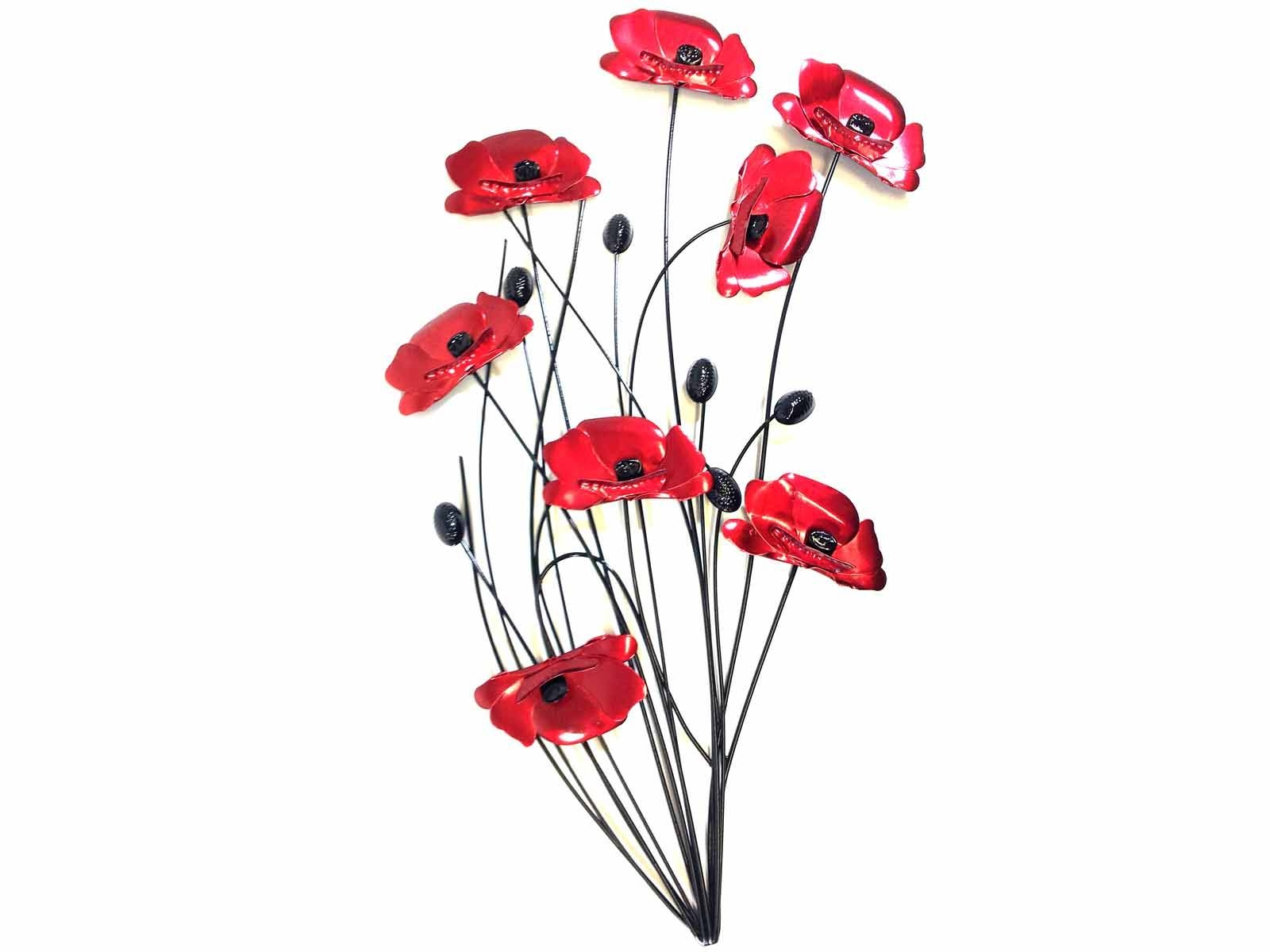 Metal Wall Art – Poppy Flower Bunch Black Stems With Most Recent Red And Black Metal Wall Art (View 7 of 20)