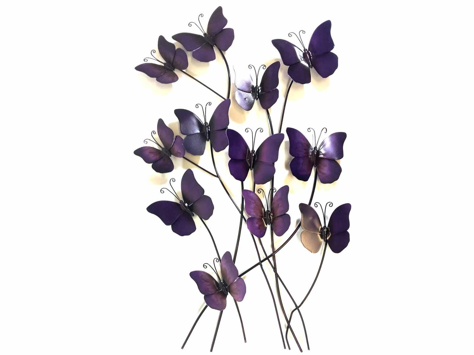 Metal Wall Art – Purple Haze Butterflies Inside Recent Purple Metal Wall Art (View 4 of 20)
