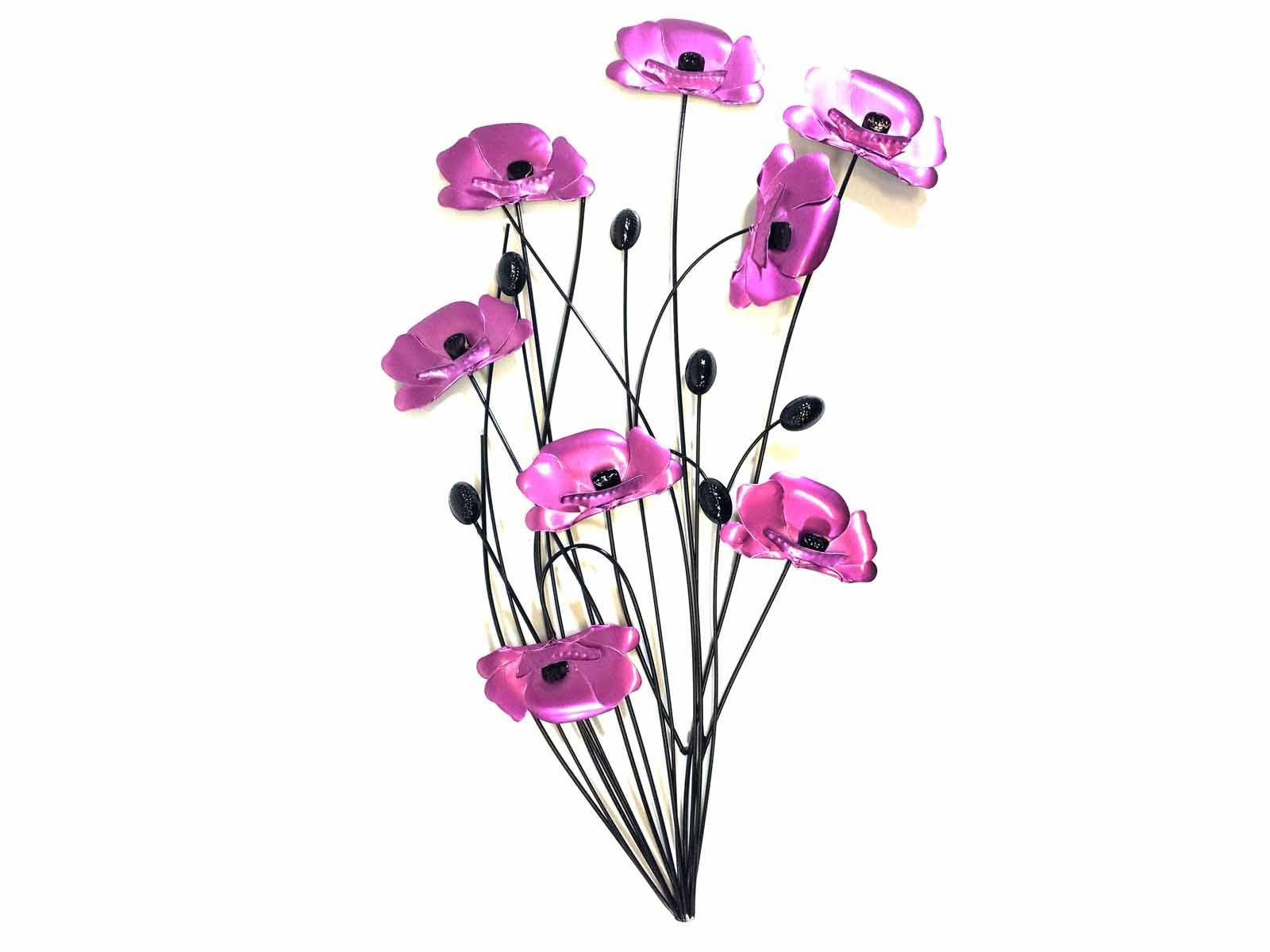 Metal Wall Art – Purple Pink Poppy Flower Bunch For Best And Newest Poppy Metal Wall Art (View 14 of 20)