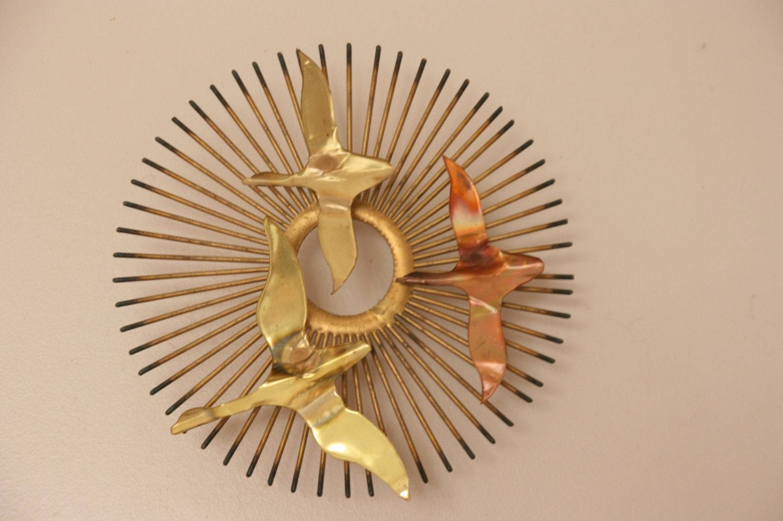 Metal Wall Art Sculpture Bird Sunburst Midcentury Modern Starburst Throughout 2018 Mid Century Metal Wall Art (View 5 of 20)