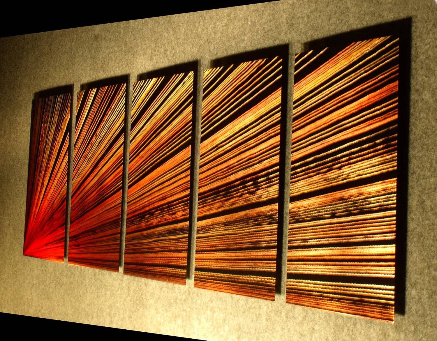 Metal Wall Art Sculpture Contemporary Abstract Painting Metal Pertaining To Most Recent Orange Metal Wall Art (View 14 of 20)