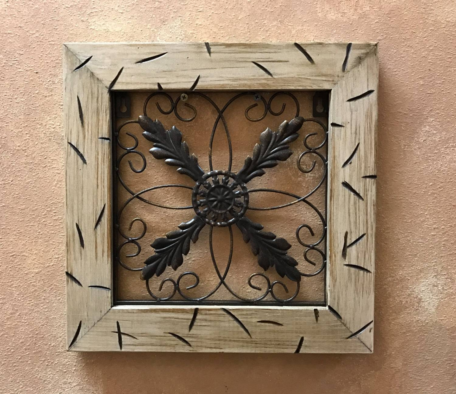 Metal Wall Art Wood Cream Distressed Framed Metal Fleur De Lis For Most Up To Date Framed Metal Wall Art (View 3 of 20)