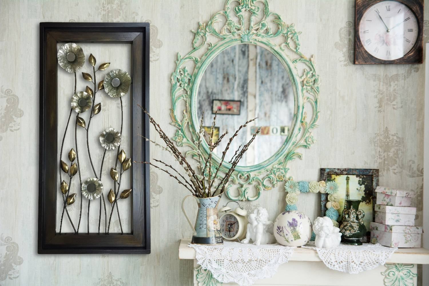 Metal Wall Art Wood Framed Flowers Mirrors Home Decor Large Within Current Wood Framed Metal Wall Art (View 4 of 20)