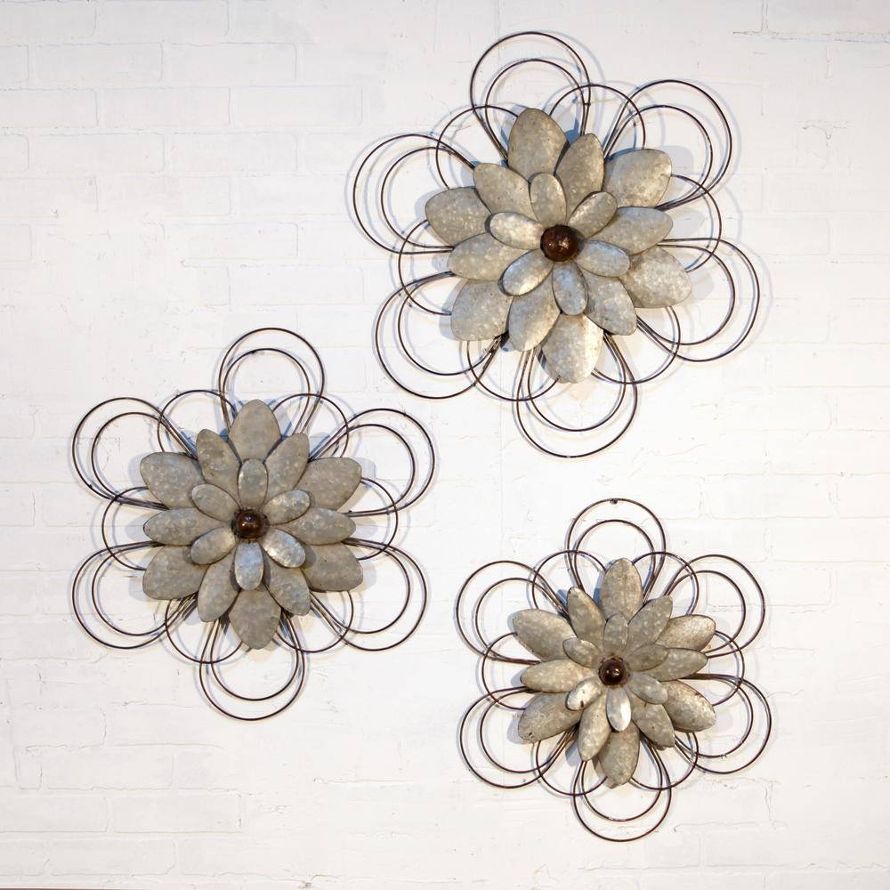 Metal Wall Flowers (Set Of 3) Fh1538 – The Home Depot Pertaining To Most Up To Date Metal Wall Art Flowers (View 11 of 20)