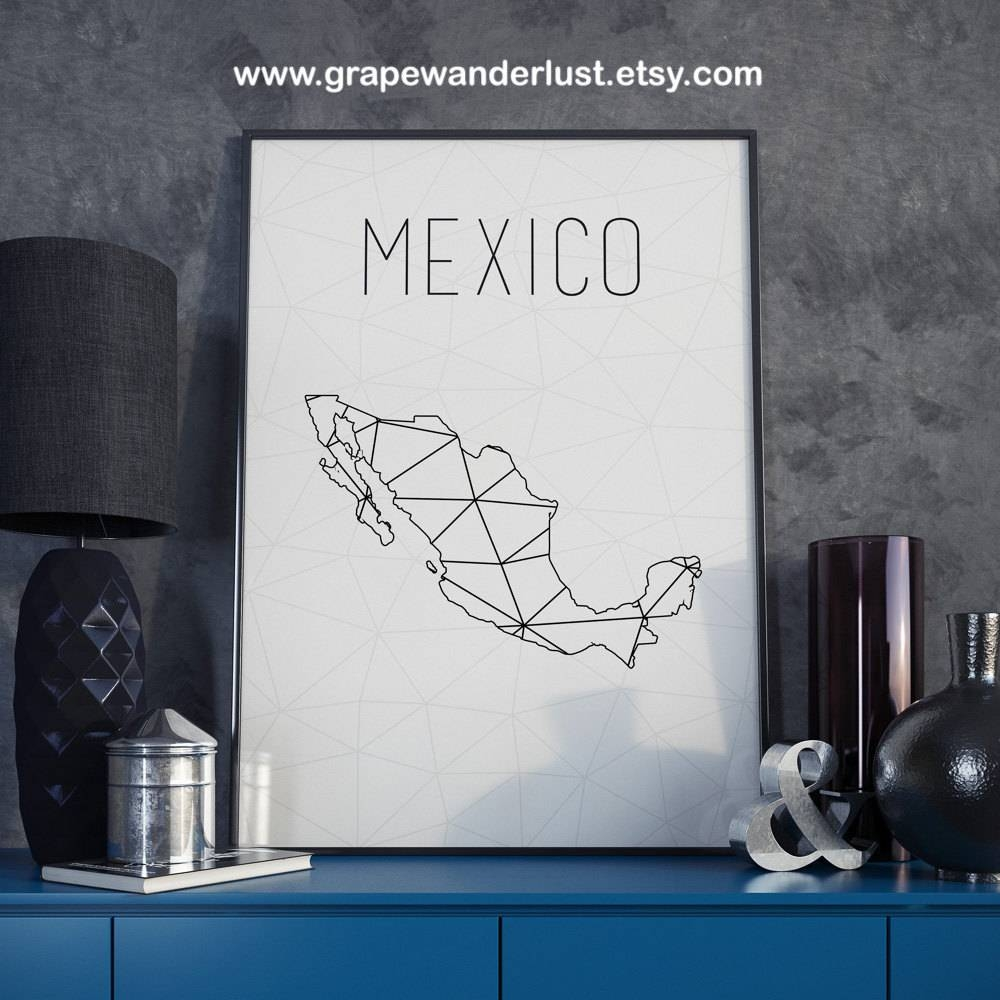 Mexico Map Mexico Poster Mexico City Mexico Wall Art Geometric Regarding Most Up To Date City Map Wall Art (View 11 of 20)