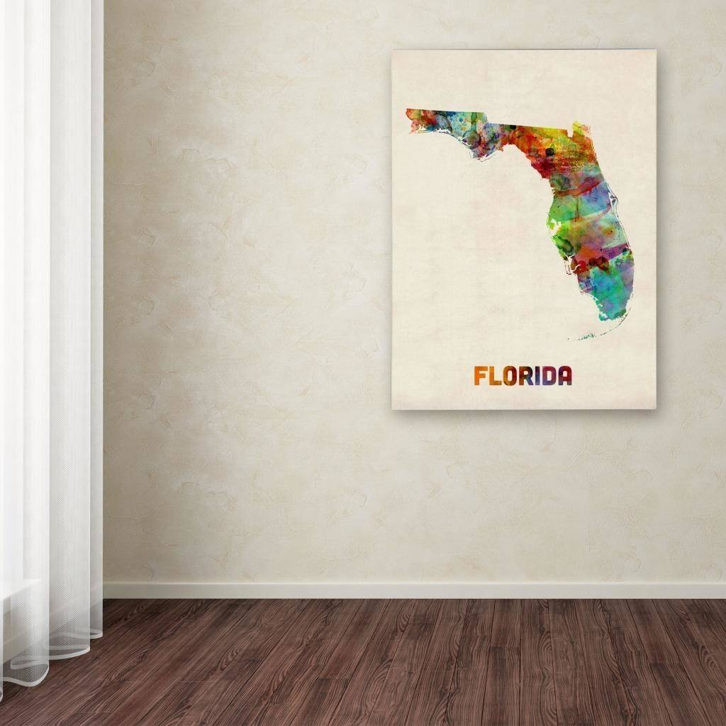 Michael Tompsett 'florida Map' Canvas Art – Free Shipping Today With Most Recent Florida Map Wall Art (View 11 of 20)