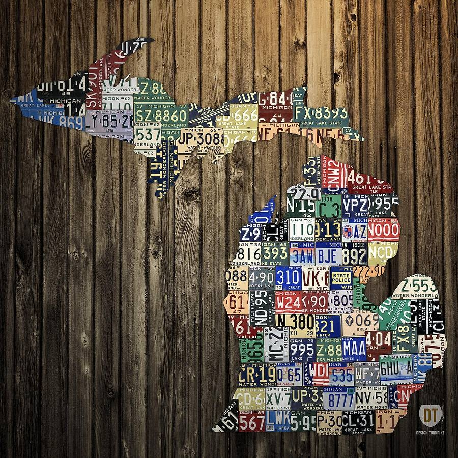 Michigan Counties State License Plate Map Mixed Mediadesign Within Current License Plate Map Wall Art (View 14 of 20)