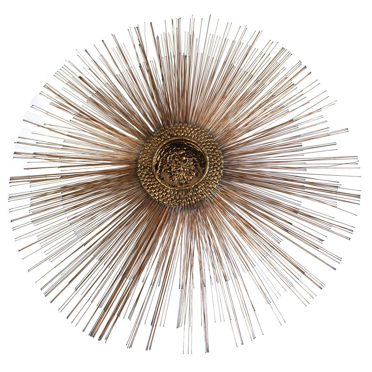 Mid Century Brutalist Copper Sunburst Wall Sculpture For Sale At Throughout Best And Newest Sunburst Metal Wall Art (View 4 of 20)