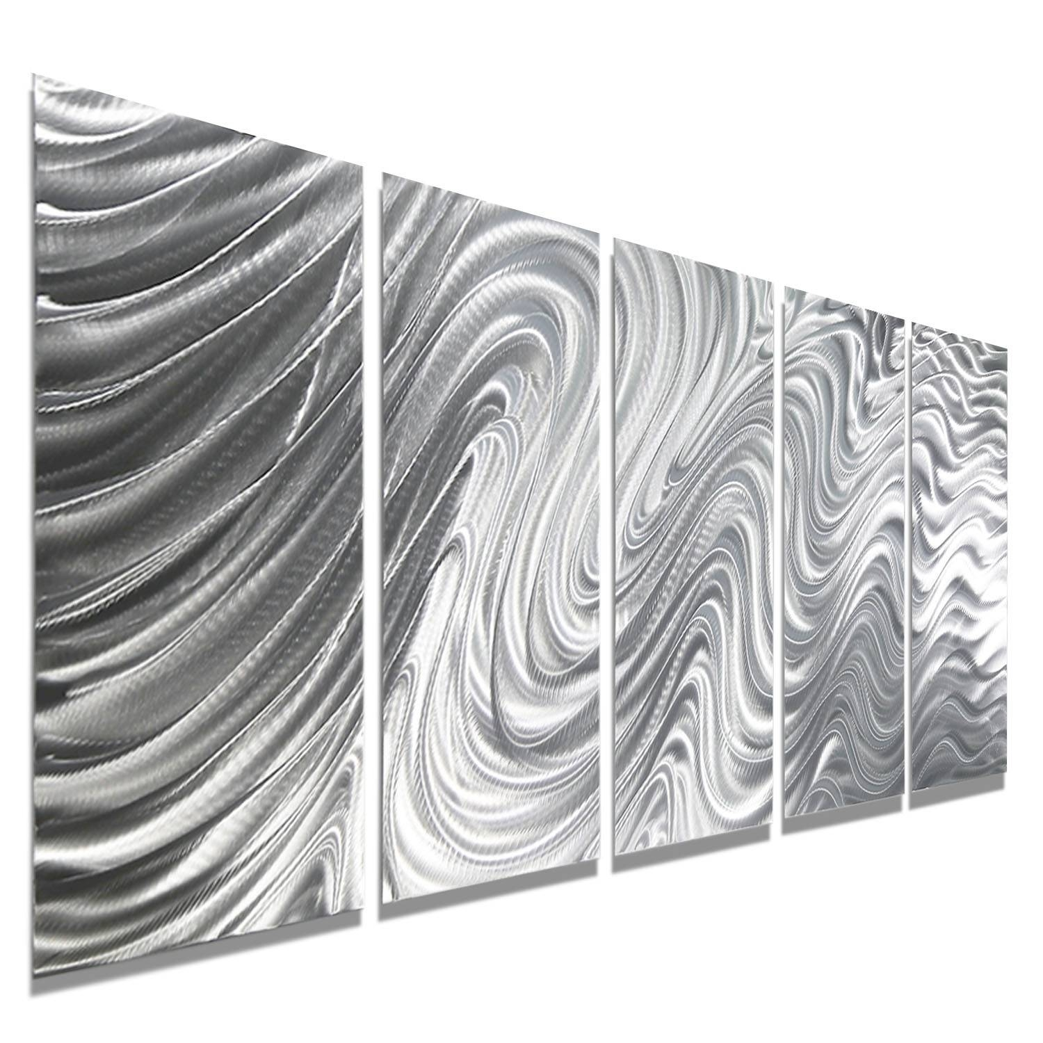 Mirage – Silver Metal Wall Art – 5 Panel Wall Décorjon Allen Inside Most Recently Released Silver Metal Wall Art (View 9 of 20)
