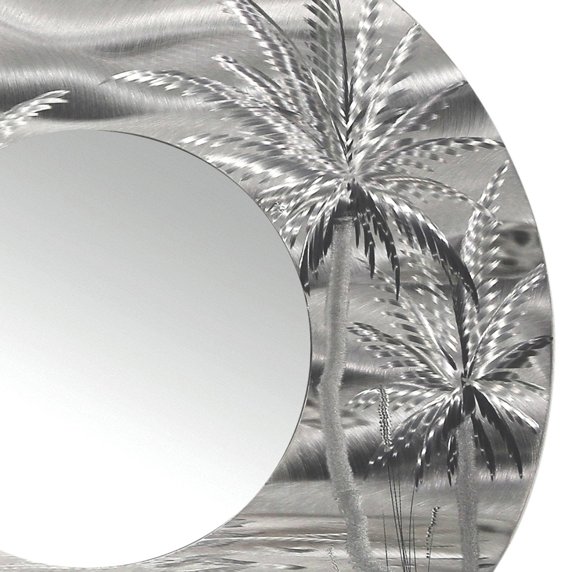 Mirror 106 – Modern Tropical Metal Wall Mirror – Silver Abstract For Latest Metal Wall Art Palm Trees (View 4 of 20)