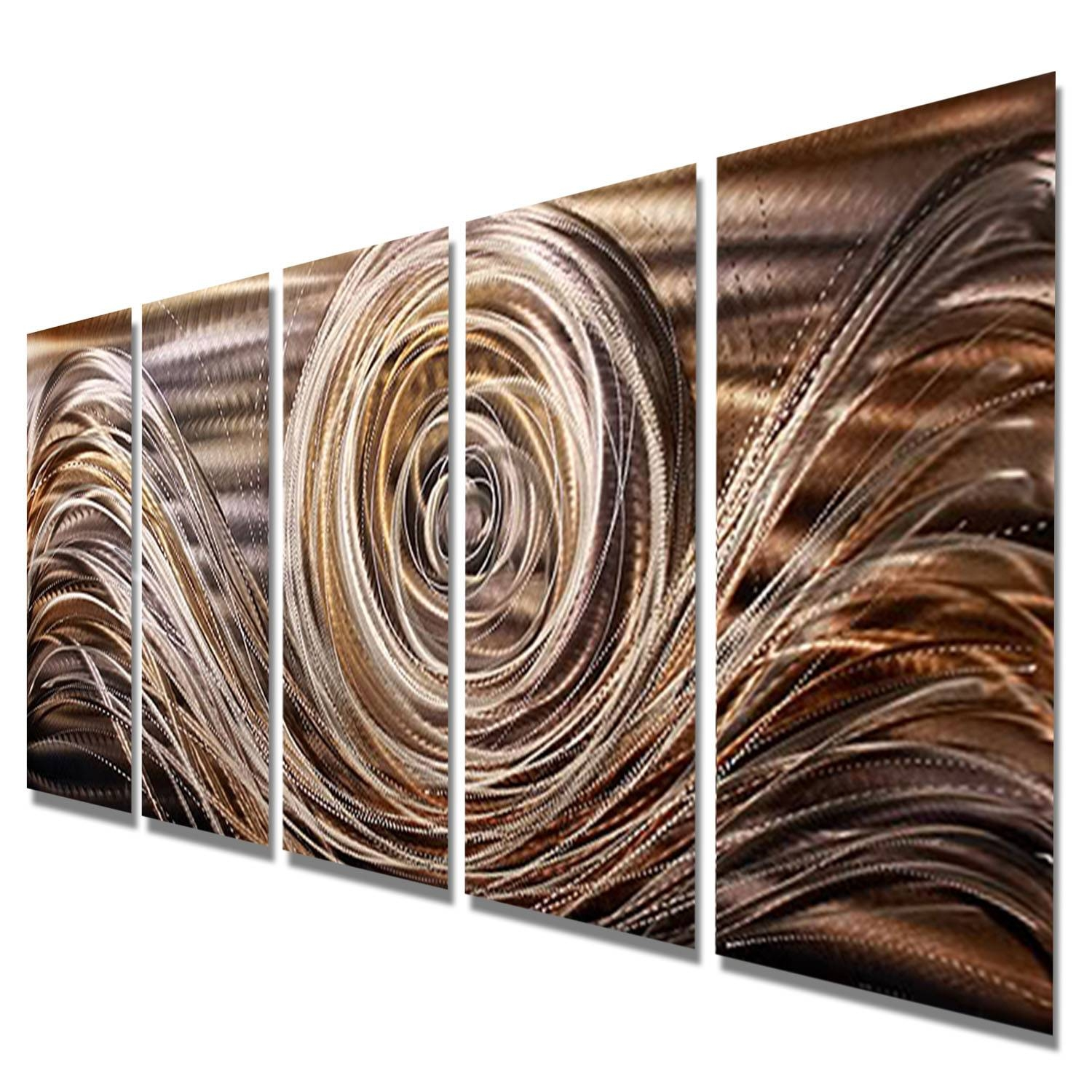 Mocha Swirl – Charcoal, Brown, Gold, And Silver Metal Wall Art – 5 For Newest Silver Metal Wall Art (View 8 of 20)