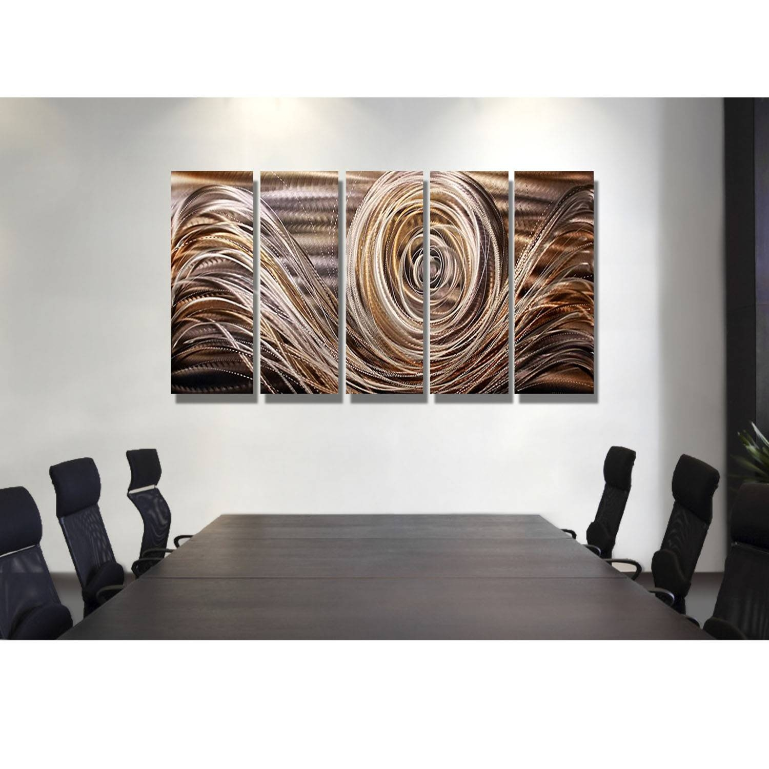 Mocha Swirl – Charcoal, Brown, Gold, And Silver Metal Wall Art – 5 Inside Current Swirl Metal Wall Art (View 3 of 20)