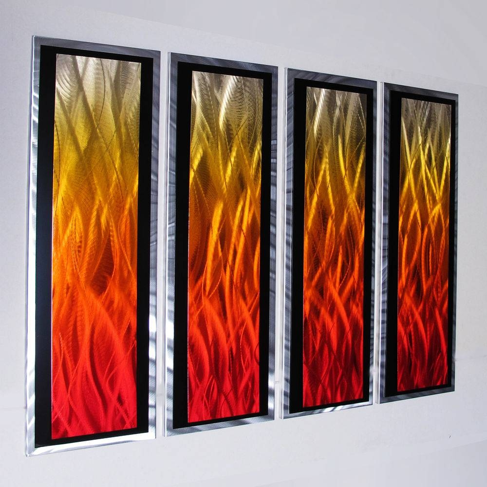 Modern Abstract Metal Wall Art Painting Sculpture Home Decor Large Regarding Recent Orange Metal Wall Art (View 13 of 20)