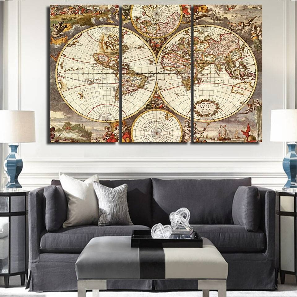 Modern Home Decor Wall Art Frame Posters Hd Printed Canvas 3 With Regard To Recent Vintage World Map Wall Art (View 12 of 20)