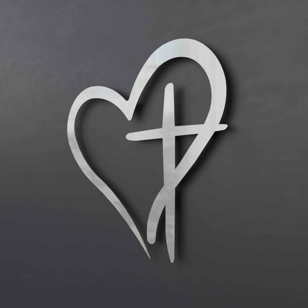 Modern Metal Wall Cross With Heart Christian Wall Art Large In Most Recently Released Heart Shaped Metal Wall Art (View 6 of 20)