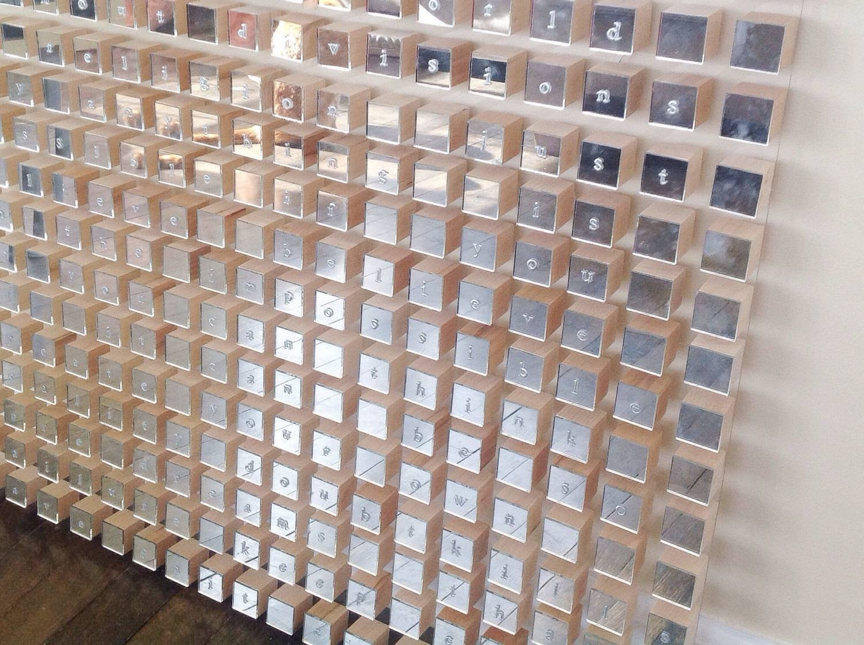 Modern Word Geometric Mirror Wood Cube Wall Art Sculpture For 2017 Geometric Metal Wall Art (View 11 of 20)