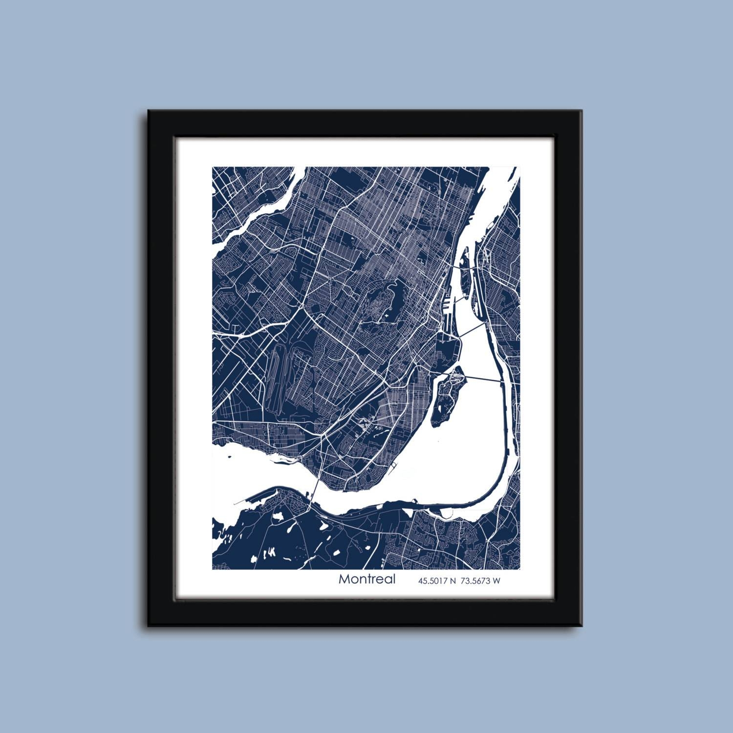 Montreal Map Montreal City Art Map Montreal Wall Art Poster Within Best And Newest City Map Wall Art (View 12 of 20)