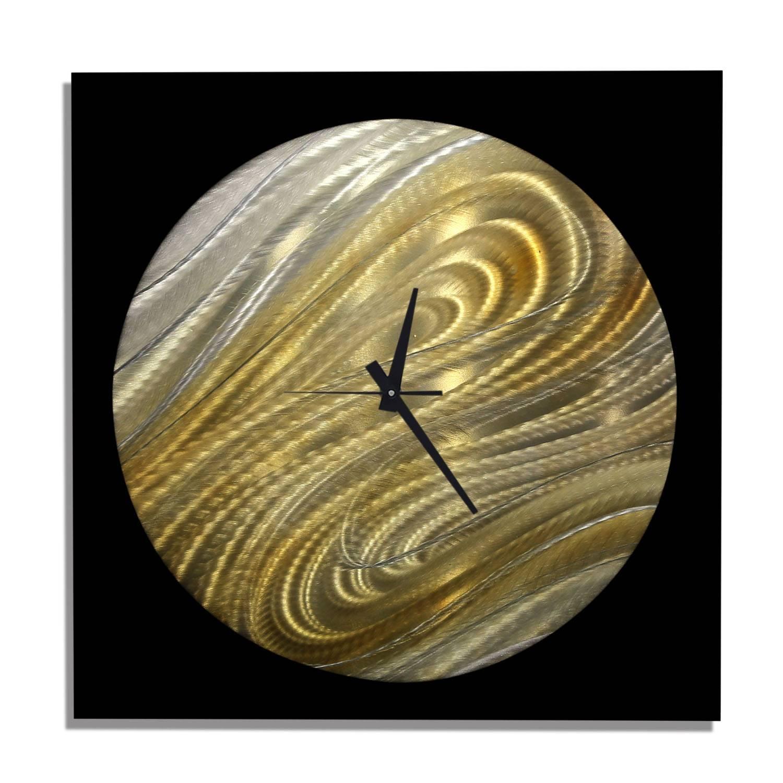 Moon Safari Clockjon Allen – Black, Silver & Gold Modern Metal For Most Recent Safari Metal Wall Art (View 7 of 20)